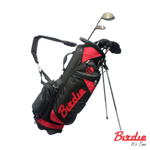 stand bag black red
